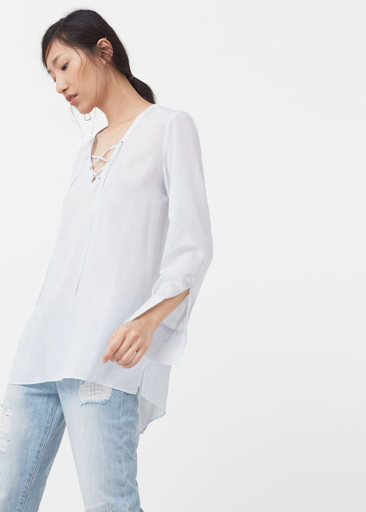 Blusa cordón trenzado - Camisas de Mujer | MANGO España