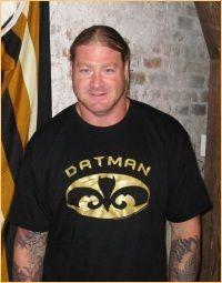 "Jeremy Shockey in his ""Datman"" shirt.  :)"