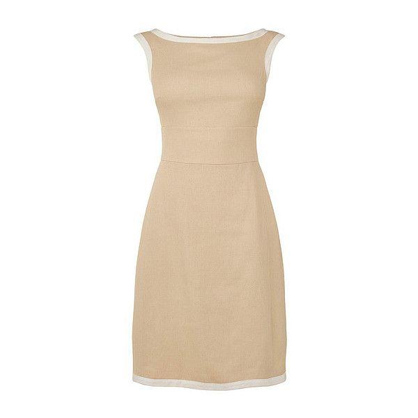 June Linen Dress ($198) ❤ liked on Polyvore featuring dresses, beige dress, high neck shift dress, shift dress, a line dress and sleeve shift dress