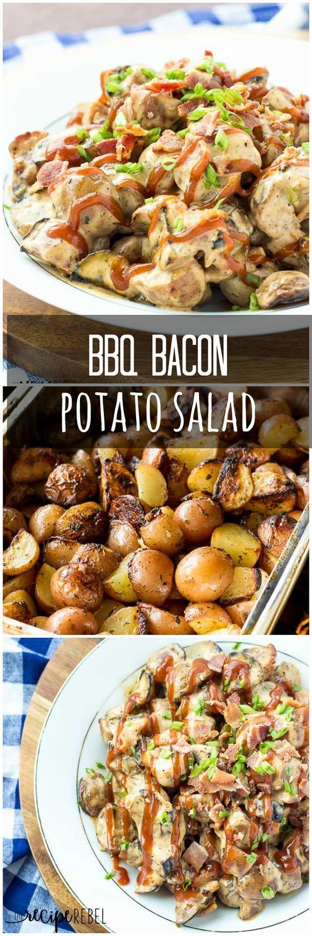 BBQ Bacon Potato Salad with Grilled Potatoes: Creamer potatoes grilled with a blend of herbs and spices, then tossed in a creamy barbecue dressing with bacon and green onions – great warm or cold! www.thereciperebel.com