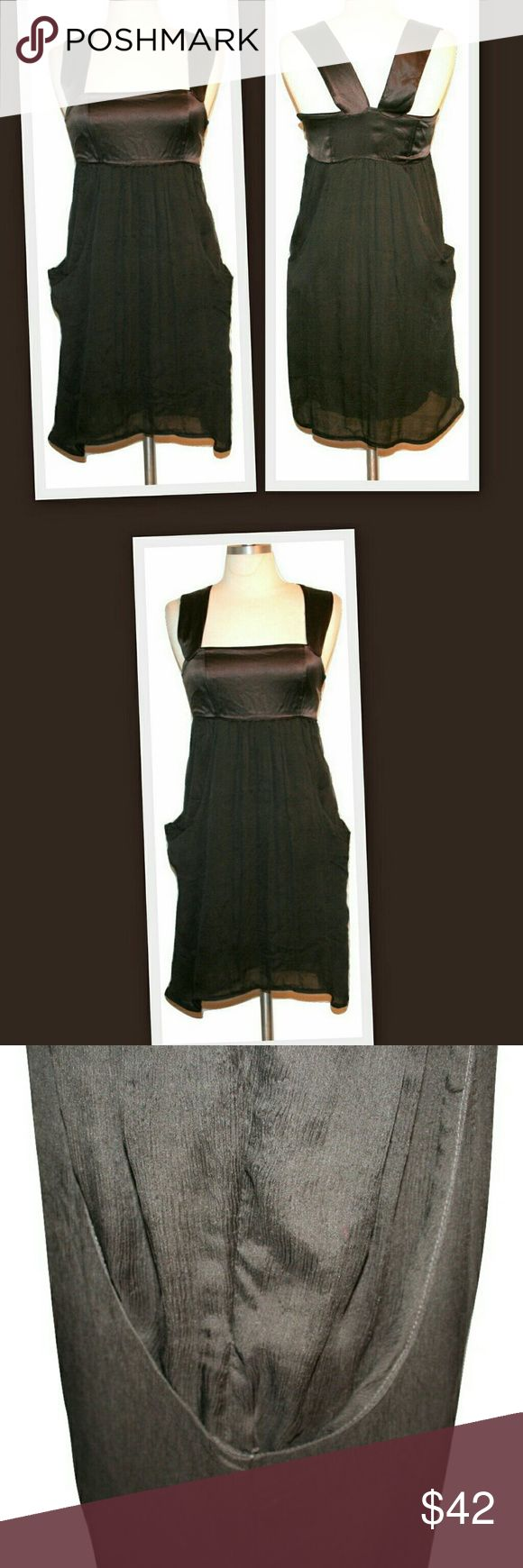"""Diesel Crinkle Silk Slouch Pocket Dress Diesel brown silk empire waist dress. The bodice is a shiny satin finish silk and the skirt is in a crinkle silk.  Large slouchy side pockets. Side invisible zipper. Lined in a soft knit.   There is a faint tiny dot on the top portion that is not obvious without close inspection.  100% silk  Lining 100% viscose   Marked size XS Bust 32"""" Waist 28"""" Hips full  Length 37"""" Diesel Dresses"""