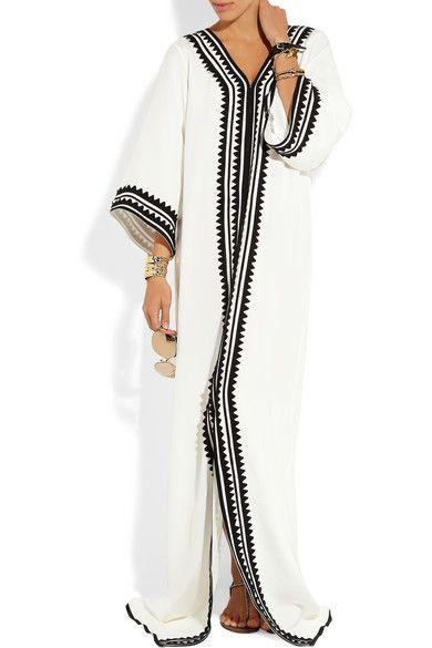 Off-white silk Black appliqué, slit front Slips on 100% silk Dry clean