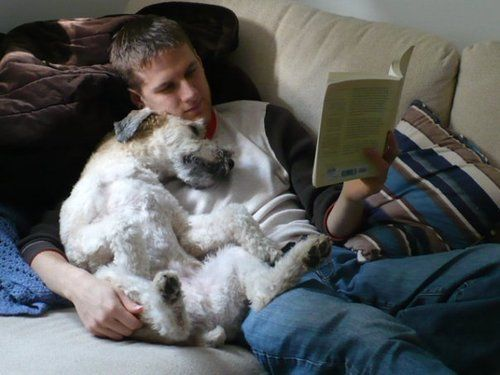 reading: Bedtime Stories, Adorable Guys, Best Friends, Men With Dogs, Hot Guys, Dogs Food, Men Reading Books, Adorable Animal, Furry Friends