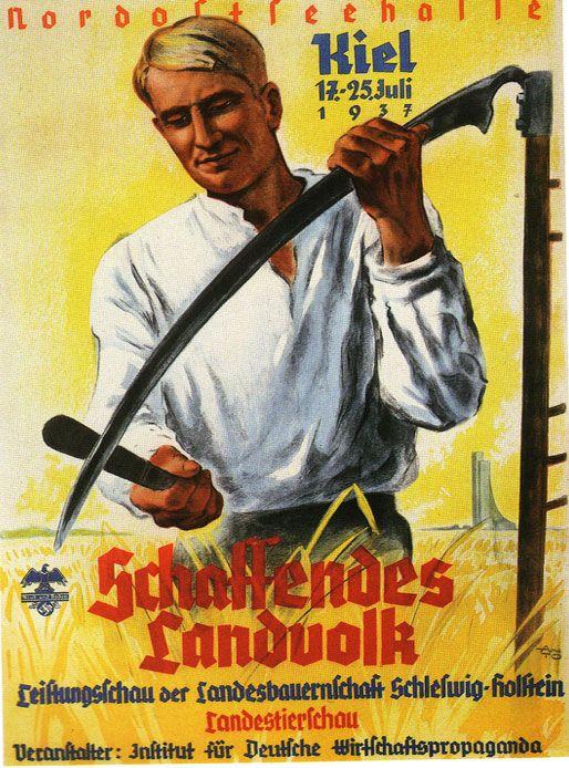 A 1937 poster announcing an agricultural fair in Kiel ...