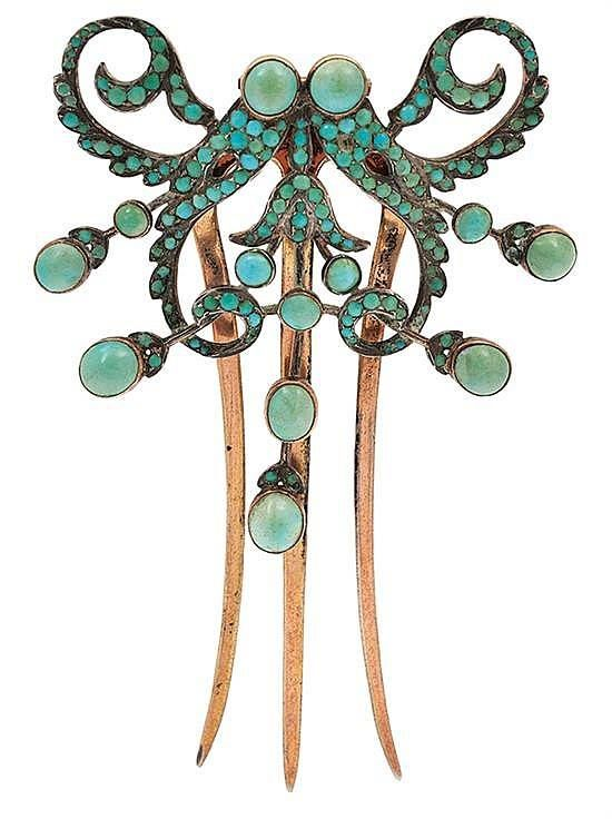 The shape of the hairpin and hinged diadem mounted with turquoise is a 19th Century French idea. The insect-like design of the diadem is Art Nouveau. Also, the piece is mounted in gold. c. 1895. Unsigned.: