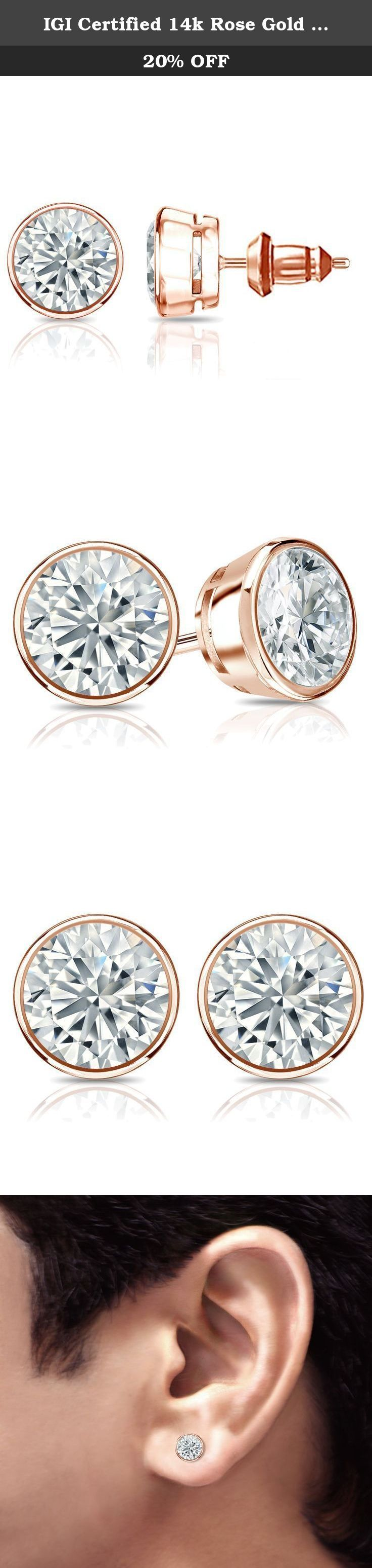 IGI Certified 14k Rose Gold Bezel Round Diamond Men's Stud Earrings (2 ct, White, I1-I2). These gorgeous diamond stud earrings for men features bezel setting in glistening 14k rose gold metal. The studs include dazzling round-cut diamonds with total weight of 2 ct. and are available with secure lock back clasps.