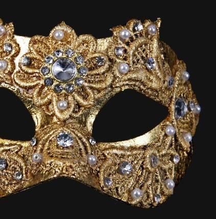 Colombina Macrame Gold Masquerade Mask-Designed in Italy! vivomasks.com