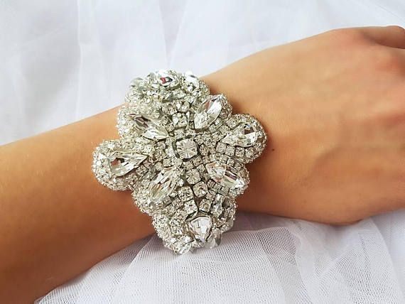 Couture silver clear crystal cuff bracelet Bridal Prom Formal