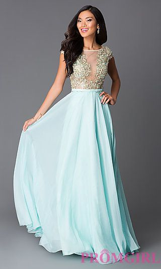 Long Aqua Beaded Cap Sleeves Open Back Prom Dress at PromGirl.com