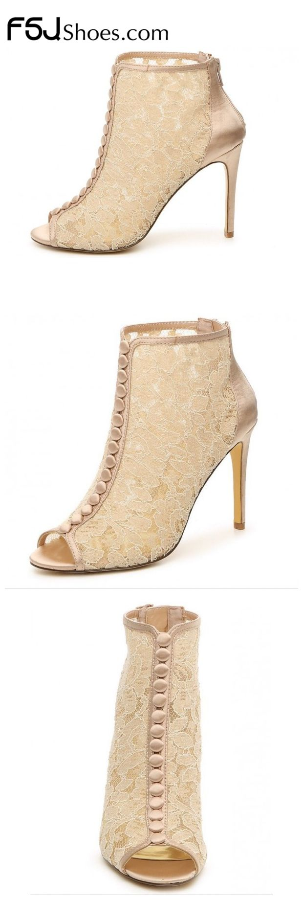 Women's Fall and Winter Fashion Ankle Booties Fall Fashion 2017 Women's Beige Lace Peep Toe Stiletto Heels Ankle Boots Fall Wedding Dresses Shoes Holiday Party Outfit Women Edgy Wedding Dresses Shoes Mermaid Wedding Dress Heels|FSJ