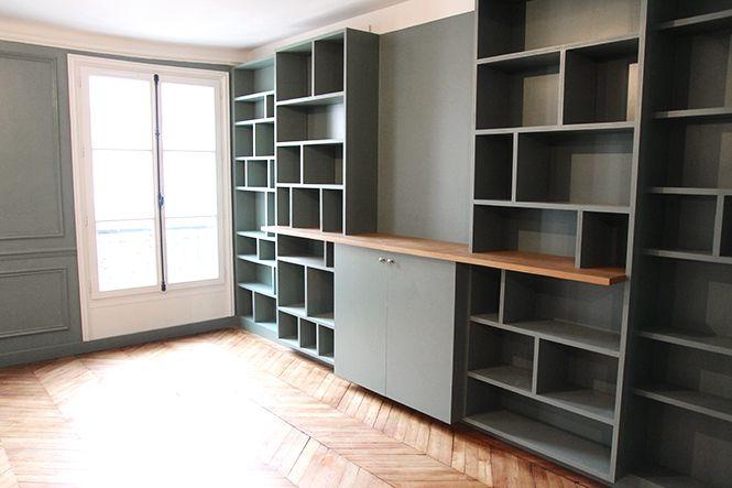 Bibliothèque sur mesure réalisé en médium et chêne. + la couleur Green Smoke de Farrow and Ball