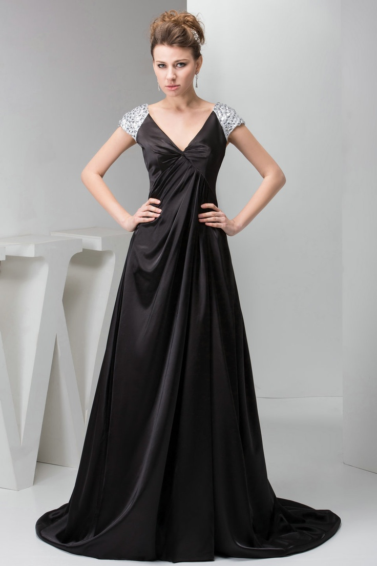 V Neck Satin A Line Sweep Train Black Prom Dress with Sleeves £117.49