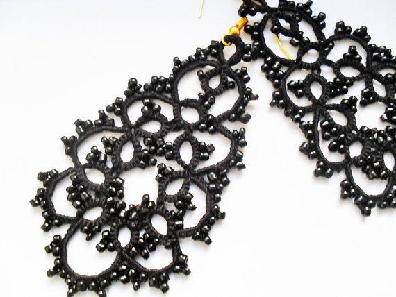 Tatted Ohrringe mit Perlen schwarze Ohrringe von carmentatting