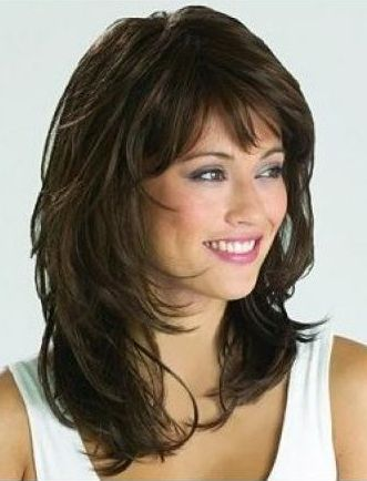 Seraphic Long Wavy with Shaggy Layers Monofilament Top Capless Human Hair Wig 16 Inches with Bangs