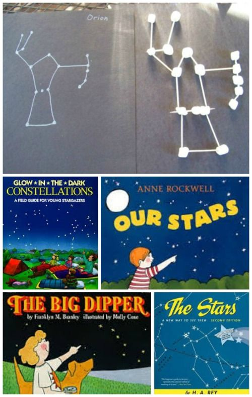 A great way to learn about the night sky -- marshmallow constellations plus cool books about the night sky!