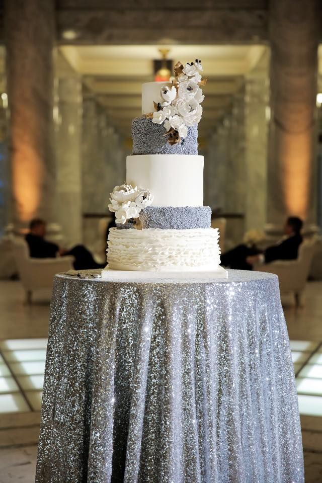Silver Sequin cake table that is perfect for a winter wedding <3