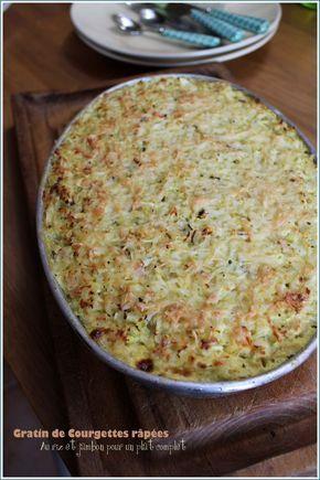 Gratin de courgettes râpées au riz et jambon