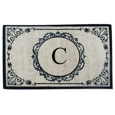A1 Home Collections LLC First Impression Engineered Anti Shred Treated Hanna Decorative Border Monogrammed Doormat Letter: