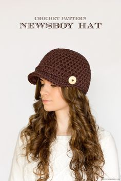 Hopeful Honey: Nifty Newsboy Hat - Free Crochet Pattern by Olivia Kent. Superchunky yarn and 10mm hook.