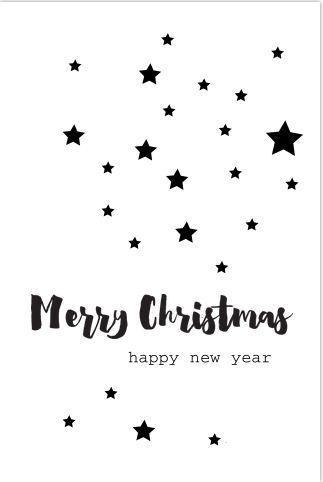 Trendy kerstkaart met zwarte sterren en veel wit. Alles staat los, dit kan je zelf allemaal aanpassen. Enveloppen zijn er los bij te bestellen.