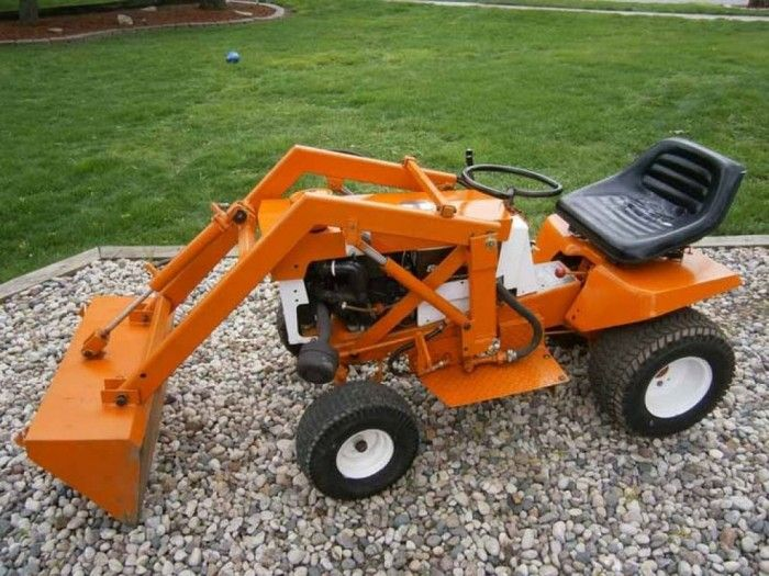 Orange Garden Tractor With Front Loader
