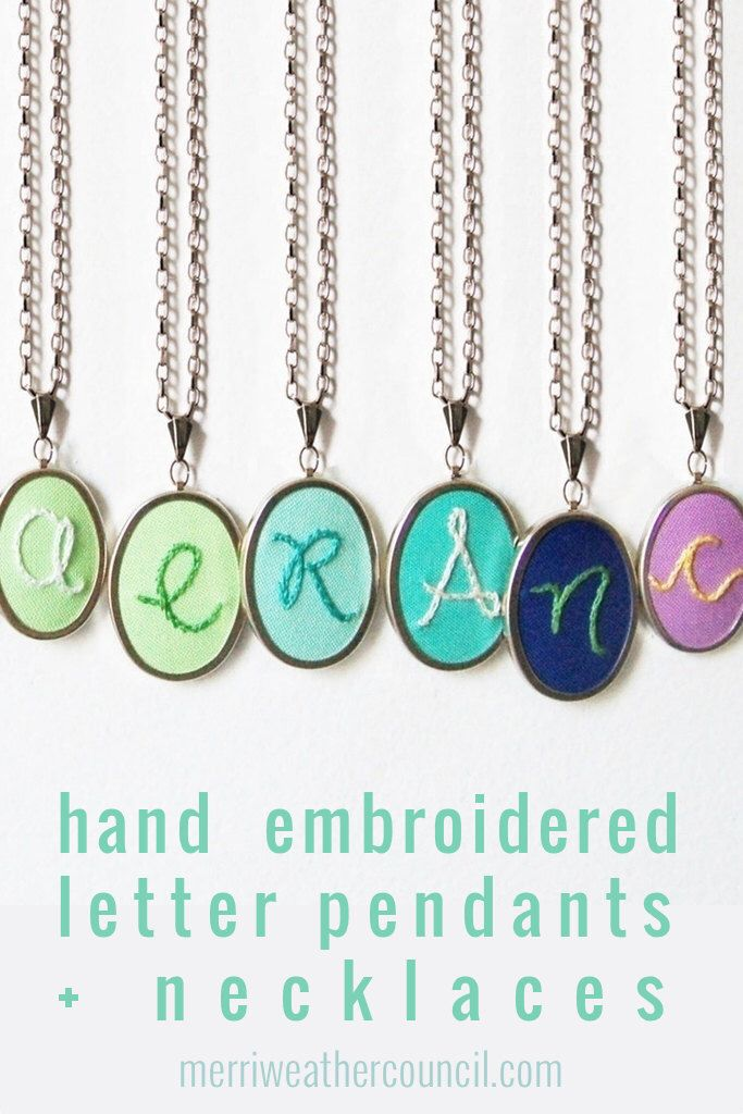 Initial Necklace Hand Embroidery Personalized GIfts for Mom Mothers Day Necklace Embroidery Pendant Letter Necklace by merriweathercouncil on Etsy https://www.etsy.com/listing/129362059/initial-necklace-hand-embroidery