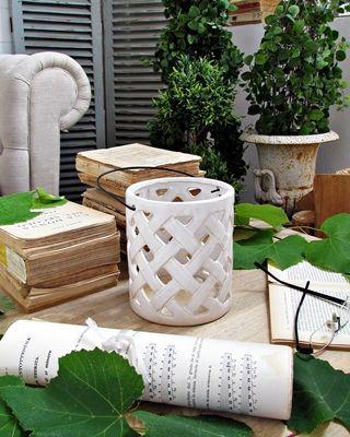 Lanterna ceramica white - d.cm.14xh.16 (93.926)