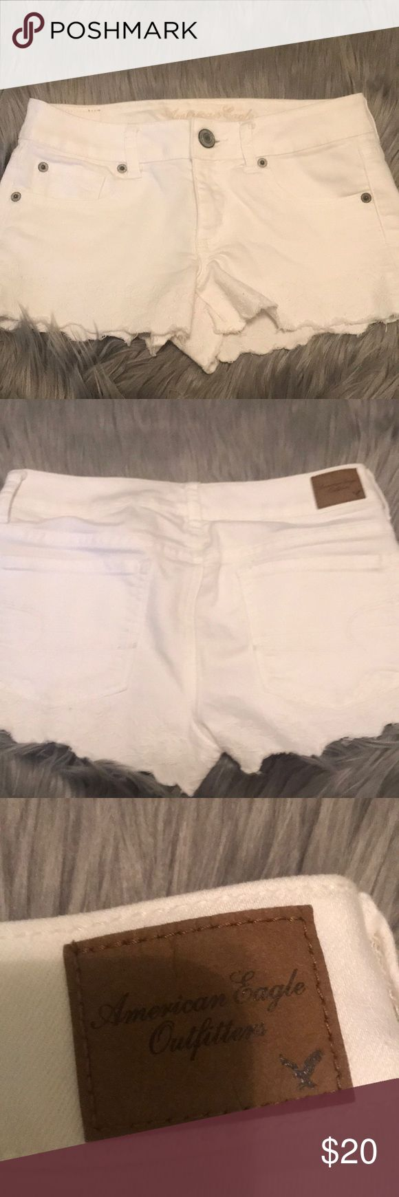 NWOT white Jean shorts. NWOT. Super cute white shorts. Can dress up or down! No stains, rips, fading, or discoloring. I have a shopping problem where i buy things and don't wear them. Shhhh don't tell my husband 🤣 These are pretty short! I have kids and I'm not 21 anymore so my butt falling out of them isn't an option. However they're super cute on!!! If only I was single and no kids! Lol. Bundle and save or make an offer! American Eagle Outfitters Shorts Jean Shorts
