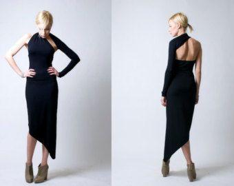 Black One Shoulder Dress / Pencil Dress / Party by marcellamoda