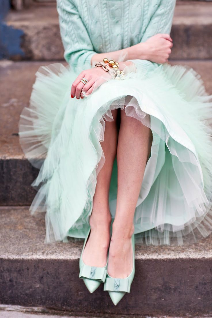 pretty: Colors Trends, Sweaters, Outfits, Mintgreen, Atlantic Pacific, Mint Green, Tulle Skirts, Style, Bows