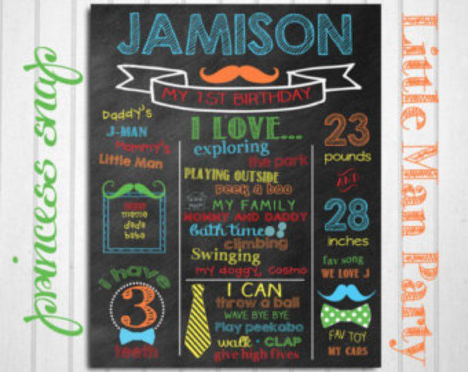 Mustache First Birthday Chalkboard - Mustache & Ties 1st Birthday Poster Printable - Baby's First Birthday - Boy or Girl