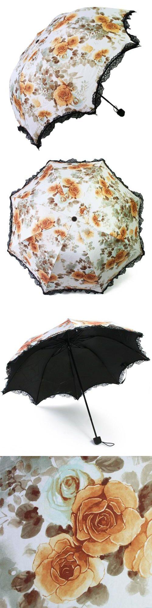 Umbrellas 105569: Kilofly Anti-Uv Folding Travel Parasol Vintage Floral Rain Sun Shade Umbrella -> BUY IT NOW ONLY: $37.04 on eBay!