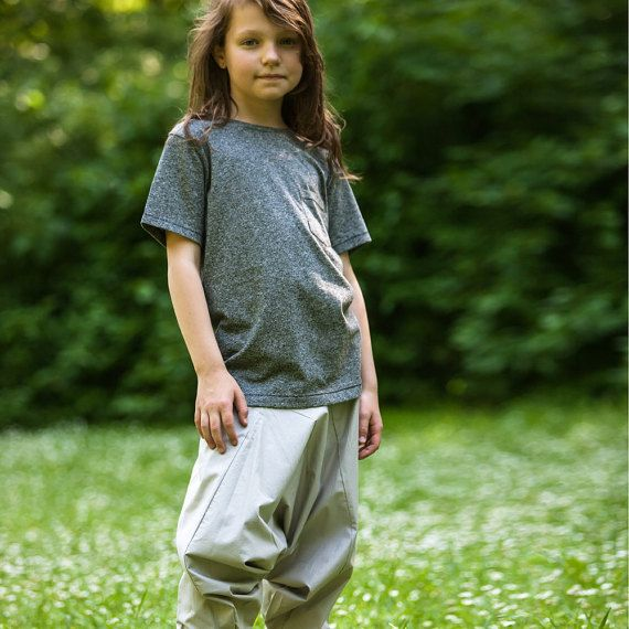 Harem trousers for kids. Gray, silver cotton, one size, unisex aladdin pants, nature