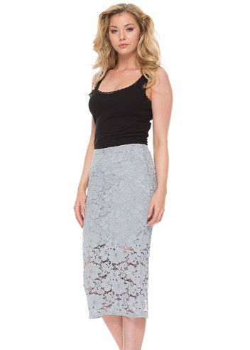A Postcard From Brighton Leila Lace Pencil Skirt In Piano Grey | A ...