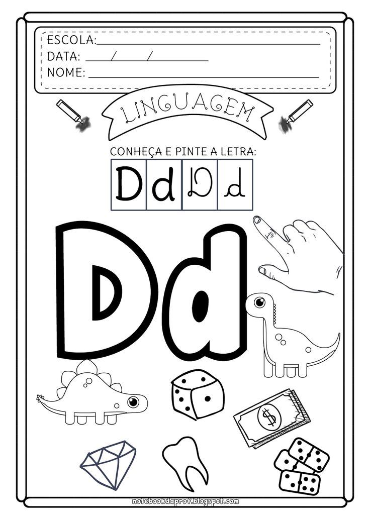 Apresentando a letra D.   Reconhecimento da letra e do som.             Imagens Freepik