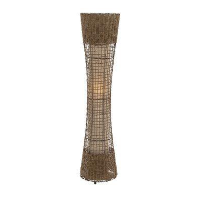 Woodland Imports Unique Metal Rattan Floor Lamp