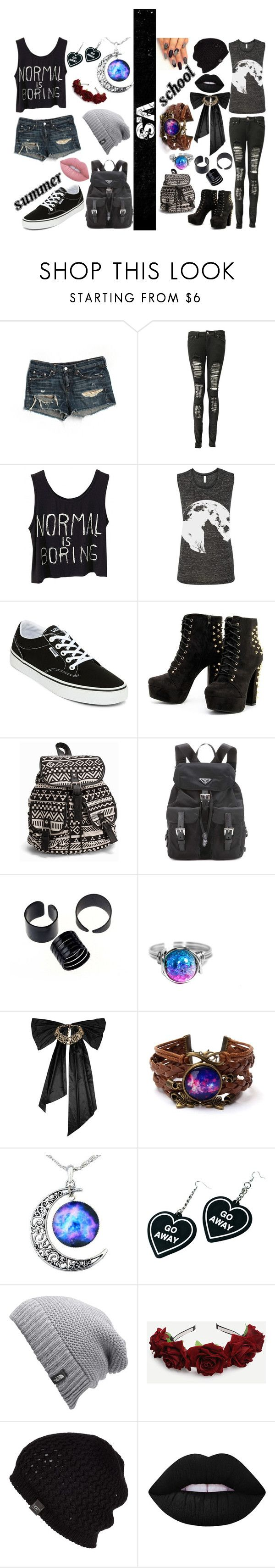 """""""Summer v.s School"""" by kenzie-motionless on Polyvore featuring rag & bone/JEAN, Boohoo, Vans, NLY Accessories, Prada, Oscar de la Renta, Witch Worldwide, The North Face, UGG Australia and Lime Crime"""