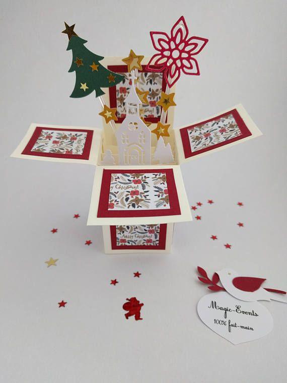 Carte boîte Pop-Up thème Village de Noël