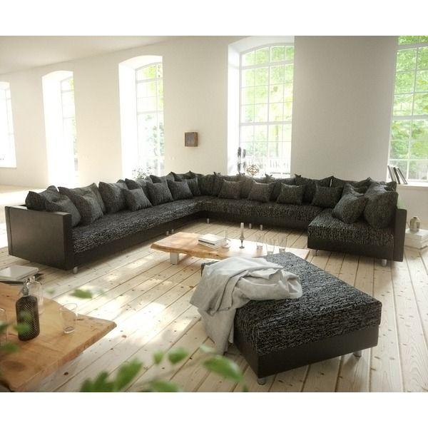 DELIFE Wohnlandschaft Clovis XXL Schwarz Mit Hocker Ottomane Links, Design  Wohnlandschaften, Couch Loft,