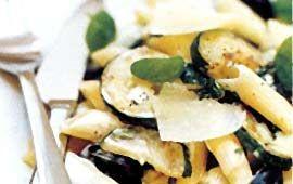Pasta med zucchini och riklig smak av vitlök, oliver och basilika. En underbart krämig och god pasta.
