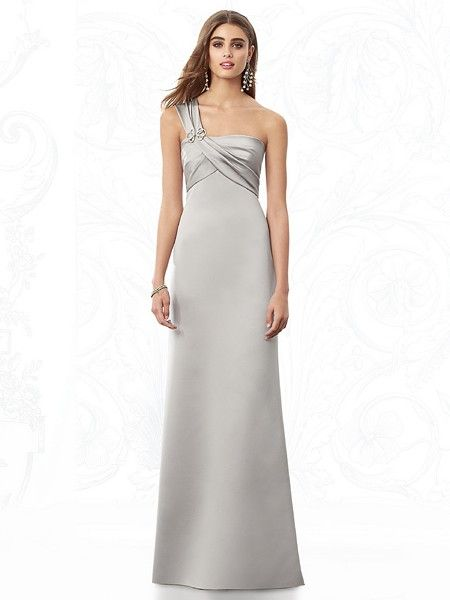 The alluring After Six 6682 bridesmaid dress by Dessy features sleek one-shoulder styling and a draped bodice accented by a rhinestone brooch. #timelesstreasure