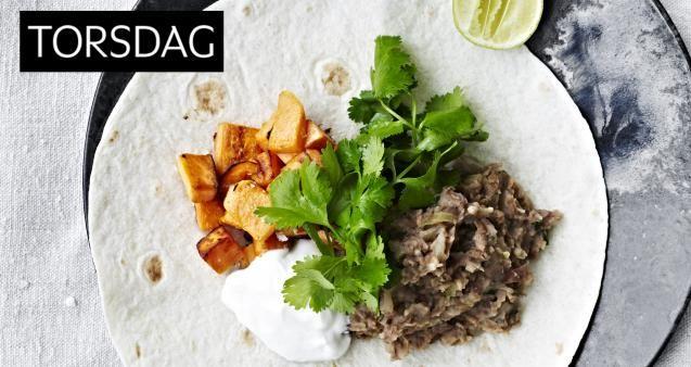 ukens matplan: Burritos med bønnestuing og søtpoteter - KK.no