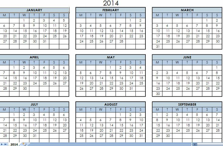 2014 printable calendar template 2014 printable one page for Ms excel calendar template 2014