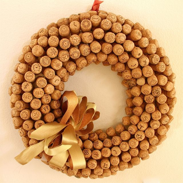 Champagne Cork Wreath...one for each Christmas you spend together. Just keep adding.