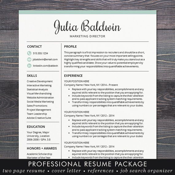 Professional Resume / CV Template, Mac or PC for Word, Creative, Modern, Blue, Free Cover Letter, Instant Download - The Julia