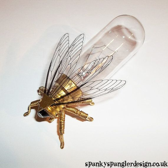 Steampunk brooch - Large Fly Lightbulb Brooch - Unique Steampunk Steam Punk Clockwork Jewelry