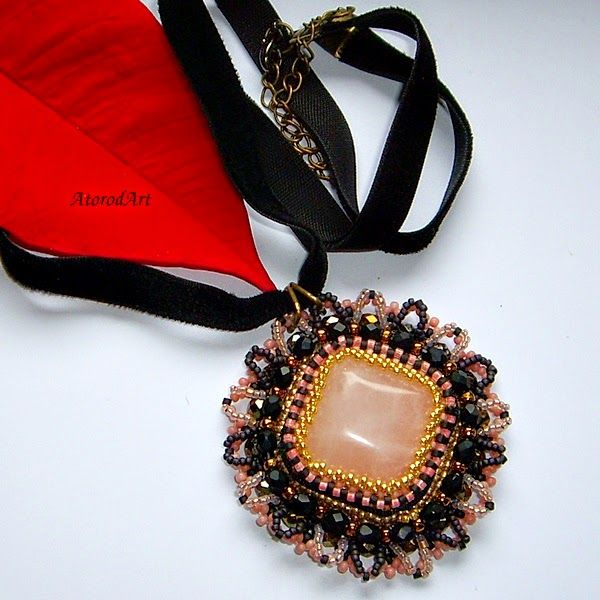 AtorodArt - biżuteria mój cudowny świat: Komplet z kwarcem różowym