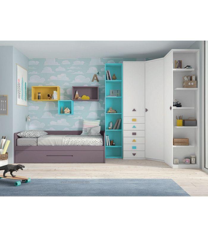 Dormitorio juvenilcon grandes armarios, librería, estanterías ycama-nido diván con respaldo y laterales.