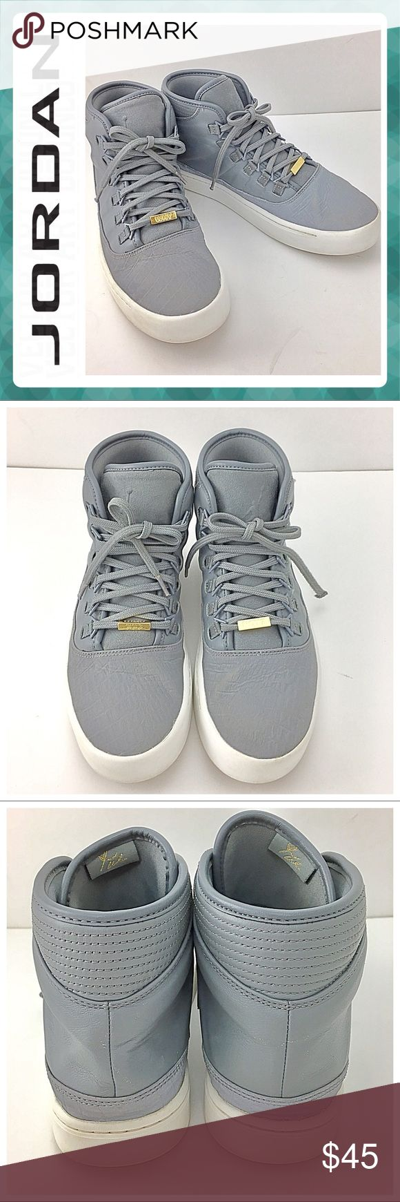 """JORDAN Westbrook 0 Cool Gray Sneaker 👟 JORDAN Westbrook 0 Cool Gray Sneaker 👟   Size 9.5 / Style Code 768934-002 📌They are used condition with some wear & (See Photo 6 ) / Jordan Logo on the Tongue. / Front Gold """"Why"""" and """"Not"""" beautifully embossed in the metal. This high ankle Kicks features a clean  cool gray look with some fashionable indentations along the side.🍀🌸🌼 Jordan Shoes Sneakers"""