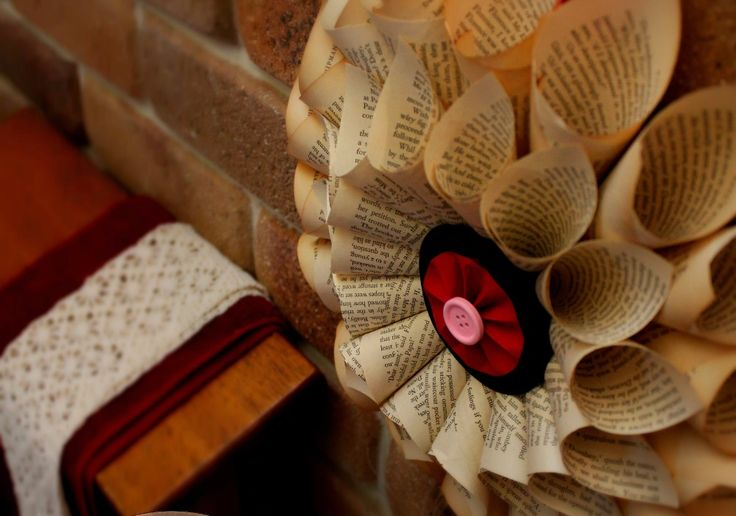 Large Book Page Paper Wreath